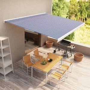 Store à cassette manuel 300x250 cm Bleu et blanc - VIDAXL