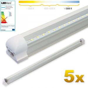 LEDVero 5x SMD réglettes lumineuses LED T8 G13 tube en blanc froid couvercle transparent - 90 cm, 14 W, 1400lumen- prêt pour l'installation