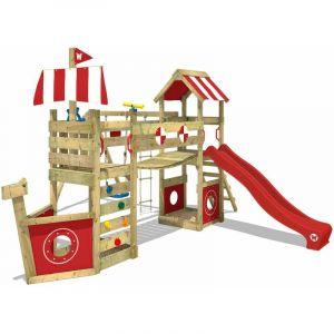 Aire de jeux bois WICKEY StormFlyer Portique de jeux en bois Tour d'escalade avec balançoire et toboggan, rouge