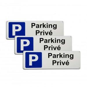 Pack 3 larges panneaux extérieurs 'Parking Privé' - PVC résistant (42 x 14 cm) - ULTRA SECURE