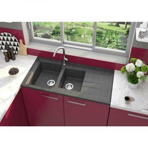 Evier PRIMEO a poser 2 cuves en synthese noir reversible - Alterna