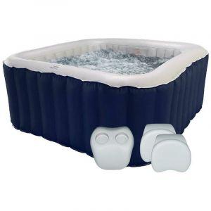 Spa gonflable jacuzzi carré bleu IOS 6 places + 2 appuis-tête + 1 porte gobelet - RED DECO