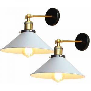 2PCS Applique Murale Métal Style Parapluie 22cm Blanc E27, Lampe Rétro Plafonnier Industrielle Eclairage Suspension Luminaire, (Ampoule non compris) - STOEX