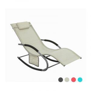 Fauteuil à bascule Chaise longue Transat de jardin avec repose-pieds et 1 pochette latérale, Bain de soleil Rocking Chair - Crème SoBuy® OGS28-MI