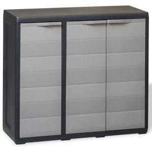 Armoire de rangement de jardin avec 2 étagères Noir et gris - VIDAXL
