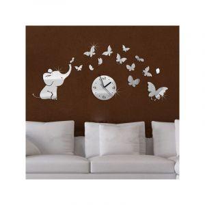 3D Horloge Murale Eléphant Papillon Mirror Sticker Adhésif - TEMPSA