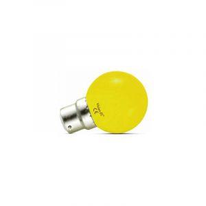 LOT de 2 ampoules 1W LED (éq 9W) Culot B22 - JAUNE - Angle 240° - VISION-EL