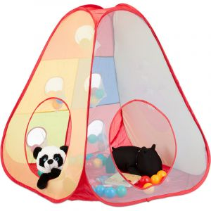 Tente de jeu piscine à balles enfants Pop Up 50 boules dès 3 ans intérieur extérieur H x L 104x35 cm, coloré - RELAXDAYS