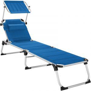 Transat LORELLA - chaise longue de jardin, bain de soleil, transat de plage - bleu - TECTAKE
