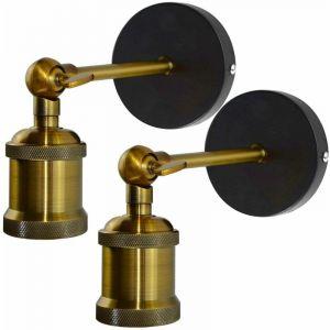 2 Pack Applique Murale Industrielle Lampe Murale Intérieur Suspension Réglable en Métal, Décoration pour Salon Cuisine Couloir Chambre Café Bar - Laiton - Idegu