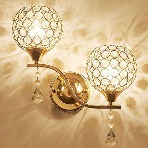 Applique Murale en Cristal Style Simple Lampe Murale LED Double Tête Moderne Décorative pour Chambre Couloir Chevet Salle (Or) - STOEX