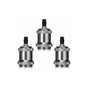 Lot de 3 Edison Douille E27 Spirale DIY Adaptateur de Lampe Aluminium Vintage Rétro Argenté pour Lustre Suspension - STOEX
