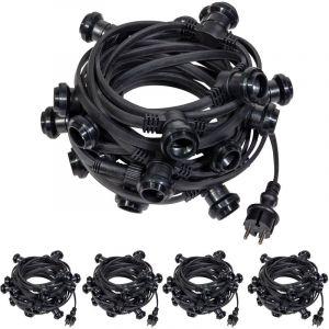 Guirlande Guinguette IP65 50m Noire Raccordable - Guirlande Lumineuse pour ampoule E27 100 Douilles - Guirlande Guinguette Extérieure pour Terrasse Jardin Bar