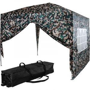 ® Tonnelle BASIC 3x3 m avec 2 panneaux latéraux (1 fermeture éclair + 1 avec fenêtre), couleur camouflage, avec sac de transport à roulettes - Instent