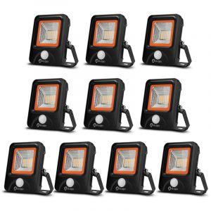 10×Anten 20W Projecteur LED Détecteur de Mouvement Spot Éclairage LED PIR Sensor Extérieur IP65 avec Détecteur Lampe de Sécurité Blanc Chaud 3000K (Boîte de Jonction Fournie)