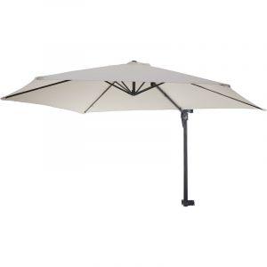 HHG - Parasol de mur Casoria, parasol déporté pour balcon ou terrasse, 3m inclinable ~ crème