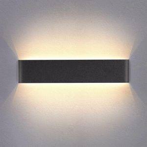Applique Murale Interieur LED Noir 14W 3000K Lampe Murale Blanc Chaud Moderne Design AC 220V pour Chambre Salon Escalier Couloir Acrylique 40CM - STOEX