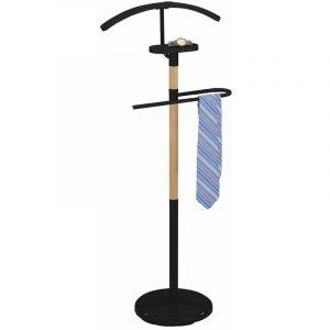 Valet de chambre BODO chevalet de nuit portant pour vêtements en métal noir et bois - IDIMEX