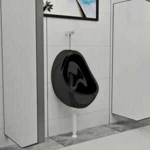 True Deal Urinoir suspendu avec valve de chasse d'eau Céramique Noir