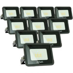 Lot de 10 projecteurs LED 10W IP65 extérieur   Température de Couleur: Blanc neutre 4000K