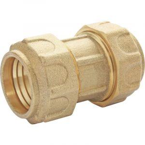 Jonction laiton égale série Fer a compression pour PE O25 - HUOT