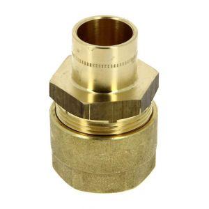 Raccord gaz naturel N.F. a braser cuivre O18 tube PE O20 - GURTNER