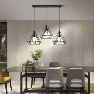 Lustre Suspension Cage Forme Diamant Contemporain Lampe Plafonnier Luminaire Lustre pour Cuisine Couloir Salle à manger Salon restaurant Noir - STOEX