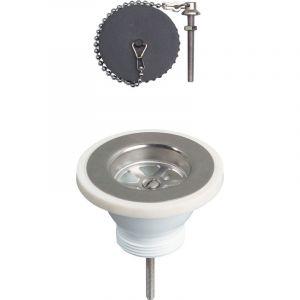 Bonde évier Ø60 mm à bouchon - Wirquin Pro 30720405