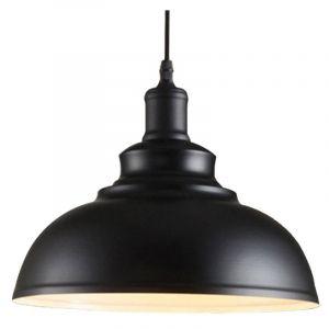 Lustre Suspension Industrielle Vintage E27 290mm Lampe Plafonniers Retro Abat-jour pour Cuisine Salle à manger Salon Chambre Restaurant Noir blanc - STOEX
