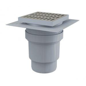 Siphon de sol en plastique - 150x150/110 mm - sortie verticale – grille en inox, APV13 - ALCAPLAST