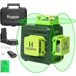 Huepar Niveau Laser Vert à 3x360 avec Batterie Li-ion Rechargeable, Laser Level Auto-nivellement, Batterie Li-ion avec Port de Charge de Type-C et Étui de Transport à Coque Rigide Inclus - B03CG Pro