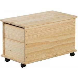 Coffre de rangement en pin massif avec 4 roulettes 43,5x73x39 cm - ASTIGARRAGA KIT LINE