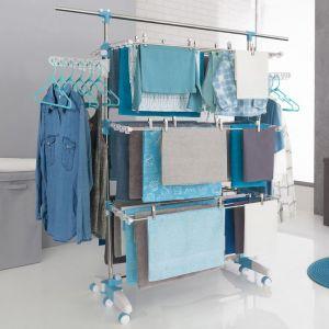 Séchoir modulable blanc/bleu grande capacité + 30 accessoires - IDMARKET