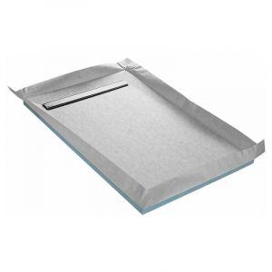 Receveur de douche à carreler caniveau 4 pentes 140 x 90 cm + siphon 360° + natte étanche - U-TILE
