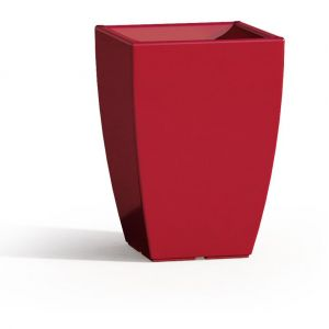 Pot de Fleurs Parodia en Résine Carré Rouge H50 33x33 Cm - IDRALITE