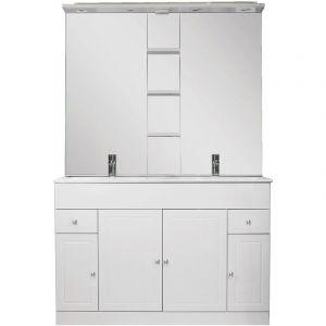 Ondée - Meuble à poser 120 cm blanc brillant trois portes et un tiroir avec étagères latérales - MATRO - ONDEE