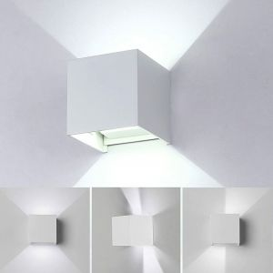 12W Led Applique murale chambre Moderne Interieur, Up and Down Design Réglable Lampe, Aluminium luminaires applique murale led Blanc pour Chambre Maison Couloir Salon (Blanc froid ) - STOEX