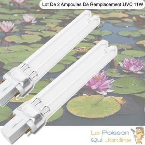 Le Poisson Qui Jardine - Lot de 2 ampoules UVC de rechange 11W pour aquarium ou bassins de jardin