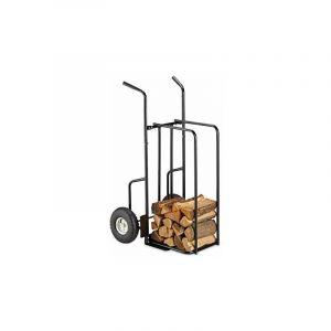 Chariot à bois de cheminée XL en métal, avec 2 grosses roues, jusqu'à 200kg, transport de bois, noir - RELAXDAYS