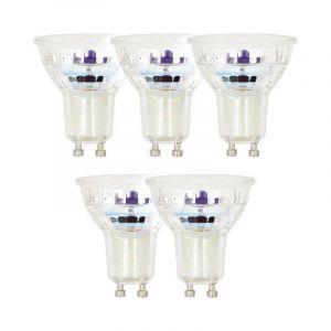 Lot x5 Ampoules LED spot, culot GU10, conso 4,8 W, eq. 50 W, blanc chaud - XANLITE