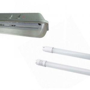 Silamp - Kit de Réglette LED étanche Double pour Tubes T8 120cm IP65 (2 Tubes Néon lumineuse LED 120cm T8 20W inclus) - Blanc Froid 6000K - 8000K