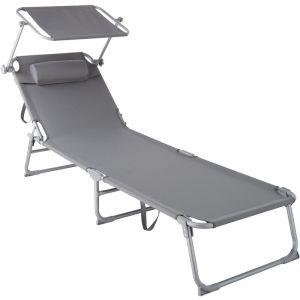 Transat CHLOE - chaise longue, bain de soleil, transat jardin - gris - TECTAKE