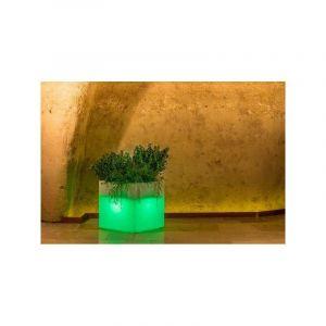 Pot de fleurs Cube en résine Carré H40 Lampe Verte 40x40Cm - IDRALITE