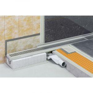 Caniveau pour douche à l'italienne, sortie horizontale KERDI-LINE-H - Caniveau inox 80 cm hauteur 40 sortie horizontale - SCHLUTER