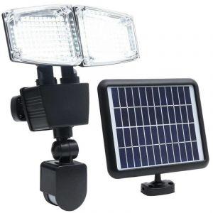 Projecteur solaire 2 têtes noir eclairage puissant panneau solaire déporté LED blanc DOUGLAS H23cm avec détecteur de mouvement orientable - LUMI JARDIN