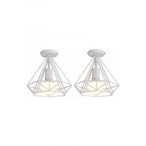Lot de 2 Plafonnier industriel retro cage forme diamant luminaire abat-jour 25cm E27 Blanc - STOEX