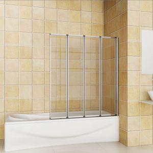 Pare baignoire 100x140cm en verre anticalcaire pivotante à 180°,4 volets - AICA SANITAIRE