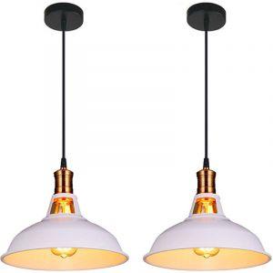 Lot de 2 Suspension Vintage Industrielle Lampe de Plafonniers LED Retro Métal Lustre avec Abat-jour Luminaire E27 Eclairage de Plafond Blanc - STOEX