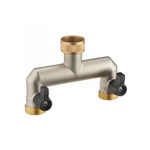 AROZ Nez de robinet double droit selecteur femelle 3/4' mâle 3/4'