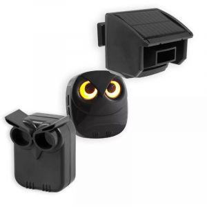 Kit double alerte de passage hibou intérieur/extérieur - Détecteurs autonomes (piles et solaire) & carillon (DA-600)